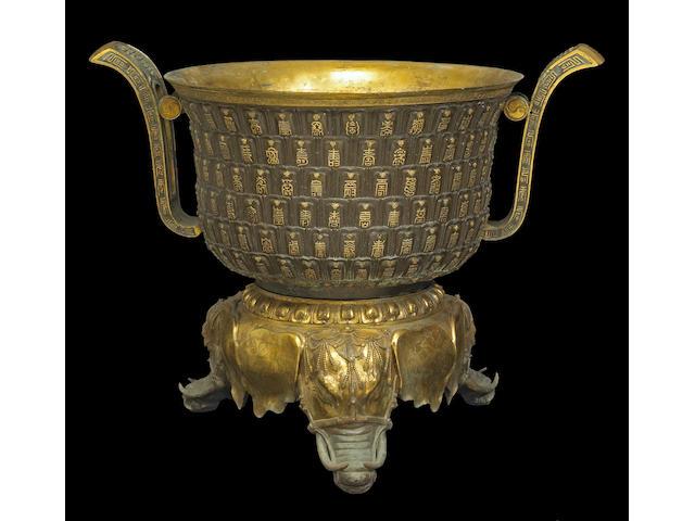 A fine and rare gilt bronze censer Qianlong Period