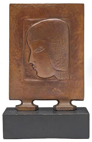 Beniamino Benevenuto Bufano (Italian/American, 1898-1970) Head of Laura 10 1/4 x 6 1/2 x 4in