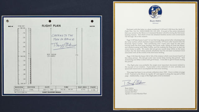FLOWN APOLLO 11 FLIGHT PLAN SHEET—A WELCOME REST.