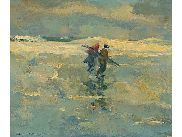 Armin Hansen (American, 1886-1957) 'Wood Gatherers' 10 x 12in