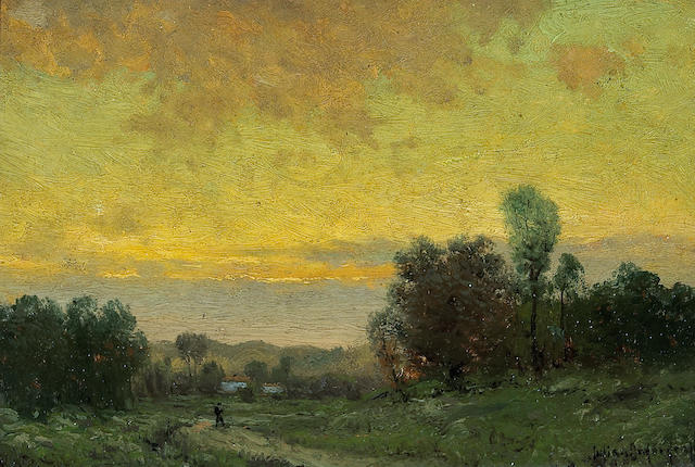 (n/a) Julian Onderdonk (1882-1922) Sunset landscape 6 x 9 1/4in