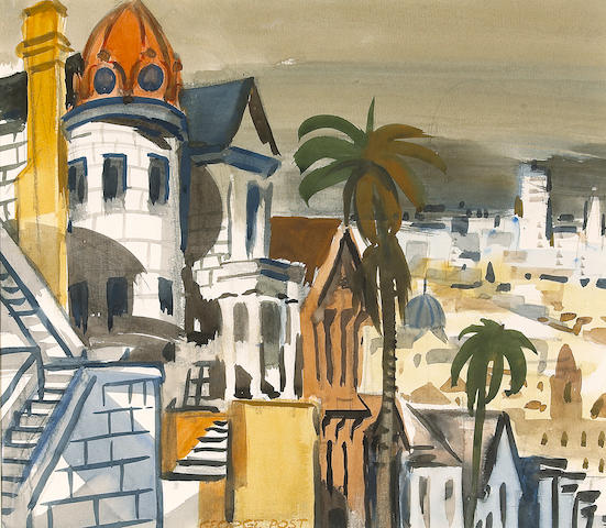 (n/a) George Booth Post (American, 1906-1997) Russian church, San Francisco sight: 14 1/4 x 16 1/2in