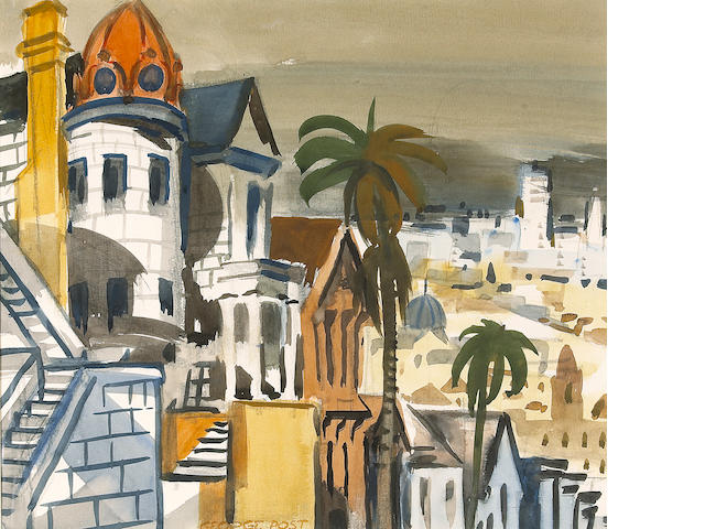 George Booth Post (American, 1906-1997) Russian church, San Francisco sight: 14 1/4 x 16 1/2in