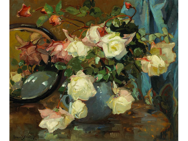 (n/a) Franz Arthur Bischoff (American, 1864-1929) Roses in a blue vase on a table with a mirror 20 x 24in