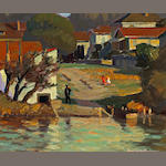 Burton Shepard Boundey (American, 1879-1962) Bank of the Lake 20 x 24in