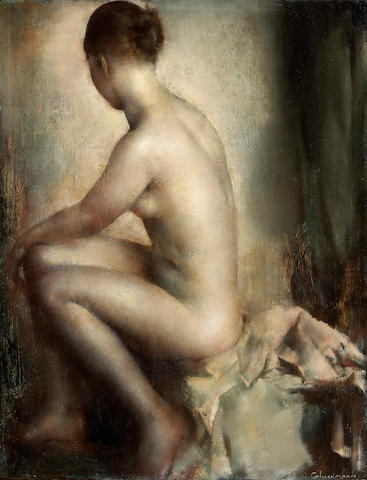 Grigory Gluckmann (Russian/American, 1898-1973) A seated female nude 13 3/4 x 10 1/2in