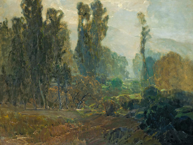 (n/a) Hanson Puthuff (American, 1875-1972) Clearing mist, La Crescenta 30 1/2 x 40 1/4in
