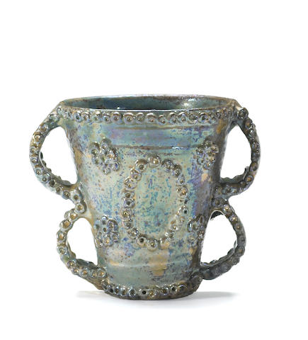 Beatrice Wood (American, 1893-1998) Glazed Pottery Loving Cup 5 1/2 x 7 x 5in