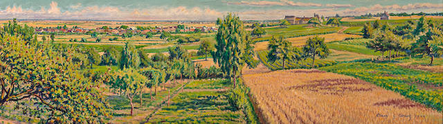 (n/a) Gustave Camille Gaston Cariot (French, 1872-1950) Auxy, 1944 11 1/2 x 39 1/4in (29.3 x 99.6cm)