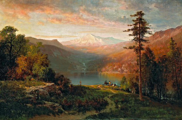 Thomas Hill (American, 1829-1908) Indian by a lake in a majestic California landscape, 1870 24 x 36in