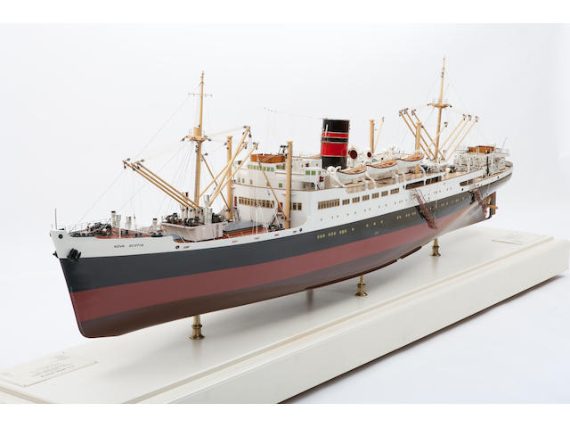 "A shipbuilders' model of the passenger/freighter S.S. ""Nova Scotia"" for Furness Withy & Co. Ltd.,British, circa 1946"
