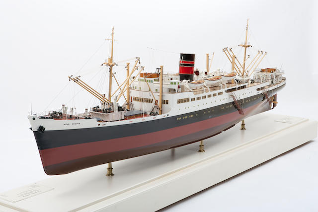 """A shipbuilders' model of the passenger/freighter S.S. """"Nova Scotia"""" for Furness Withy & Co. Ltd.,British, circa 1946"""