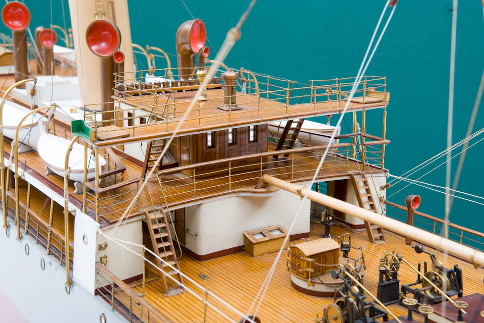 """A shipbuilders' model of the cable layer ship C/S """"Restorer"""" for the Commercial Cable Co.,British, circa 1902"""