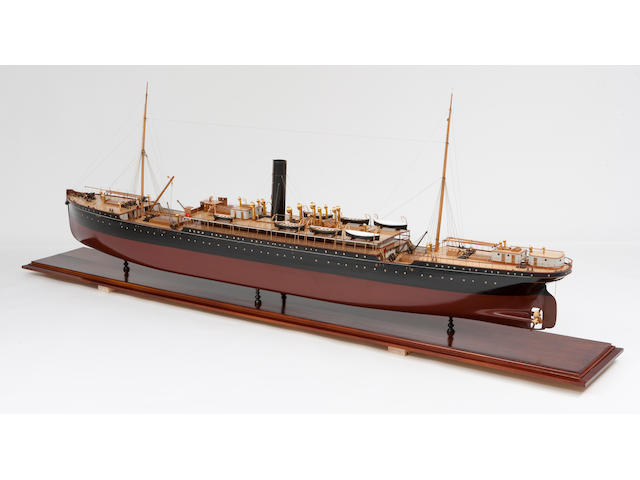 A fine shipbuilders' model of the passenger ship S.S. Sicilia for the P&O Line  circa 1900 136 x 54-½ x 26 in. (346 x 138 x 66 cm.) cased.