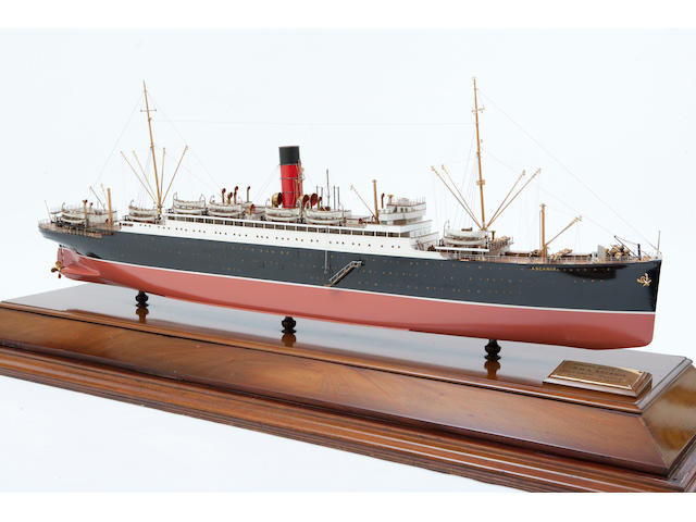"A rare shipbuilders' cut-a-way model of the R.M.S. ""Ascania"" for the Cunard Line,British, circa 1925"
