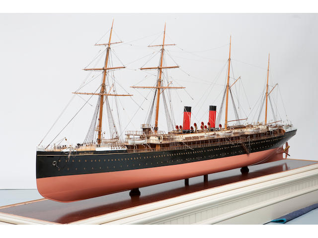 "A fine shipbuilders' model of the passenger ship  ""La Champagne"" for the French Line (CGT),French, circa 1885"