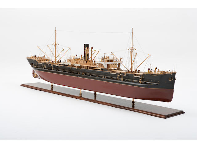 "A shipbuilders' model of the turret deck steamer S.S. ""Pearlmoore"" for the South Shields Steam Ship Co.,Scottish, circa 1897"