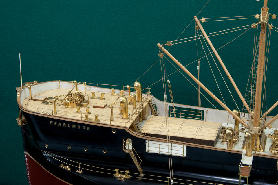 """A shipbuilders' model of the turret deck steamer S.S. """"Pearlmoore"""" for the South Shields Steam Ship Co.,Scottish, circa 1897"""