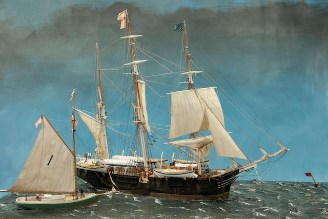 "A diorama ""Taking on a Pilot"" with the whaling bark Charles W Morgan Kenneth Britten (British, 20th century) the models, in 1/8 in.=1 ft. scale, set in in a modeled and painted sea, the hulls weathered and well detailed with deck houses, tri-works, whale boats on davits, ladders, railings, masts rigged with standing and running rigging, modeled sails with seams and reef lines, and other details. Displayed in a brass framed glass case with a mahogany base and stand. 28-½ x 21 x 18 in.(72 x 53 x 46 cm.) cased on stand."