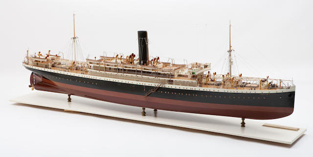 "A shipbuilders' model of the S.S. ""LanFranc"" for the Booth Steamship Co.,Scottish, circa 1905"