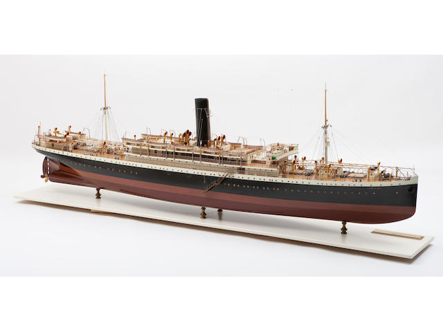 A shipbuilders' model of the S.S. LanFranc  circa 1906 117-3/4 x 23 x 48 in. (299 x 59 x 122 cm.) cased.