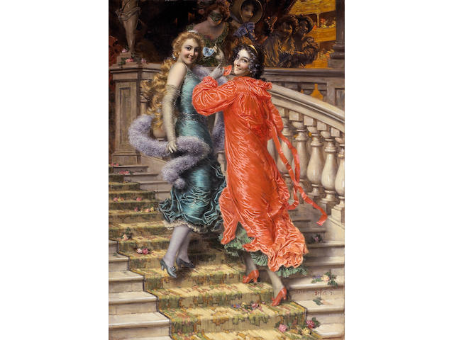 Gaetano Bellei (Italian, 1857-1922) In the theatre 40 1/2 x 28 1/4in (102.8 x 71.7cm)