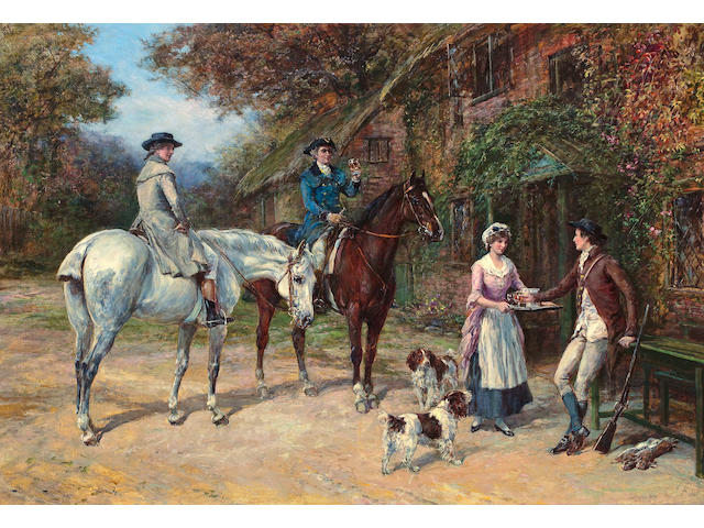 Heywood Hardy (British, 1843-1933) Refreshments 29 x 42in (73.7 x 106.7cm)