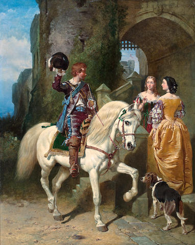 John Frederick Herring, Snr. (British, 1795-1865), Henry Bright (British, 1814 - 1873) and Charles Baxter (British, 1809 - 1879) The Cavalier's Visit 50 x 42in (127 x 106.7)