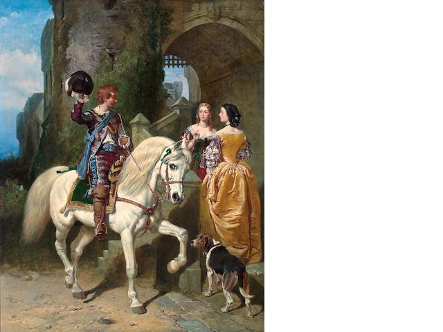 John Frederick Herring, Snr. (British, 1795-1865), Henry Bright (British, 1814 - 1873) and Charles Baxter (British, 1809 - 1879) The Cavalier's Visit 50 x 42in (127 x 106.7)
