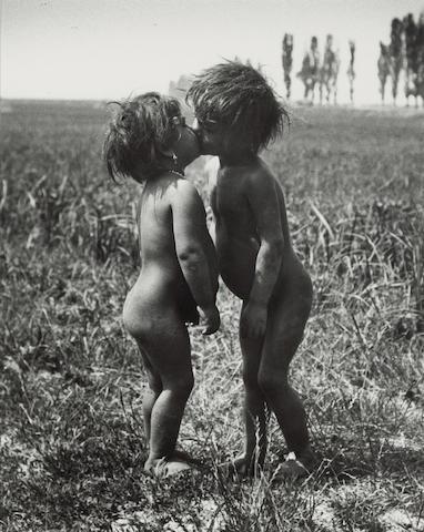 André Kertész (Hungarian/American, 1894-1985); Gypsy Children Kissing, Esztergom, Hungary;