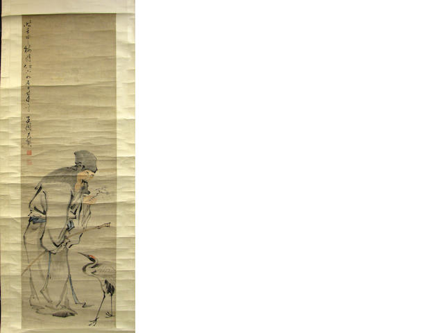 Two Chinese paintings: Shi Shouzhen (Circa Late 19th Century): Scholar and prunus; After Wang Shengying (active Kangxi Period): Landscape