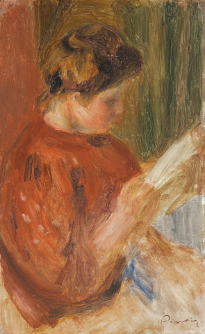 Pierre-Auguste Renoir (French, 1841-1919) Woman reading 11 7/16 x 7 1/8in (29.1 x 18.1cm)