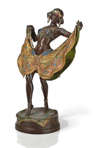 Franz Bergman (Austrian, late 19th/early 20th century) Orientalist dancer 33cm (13in) high