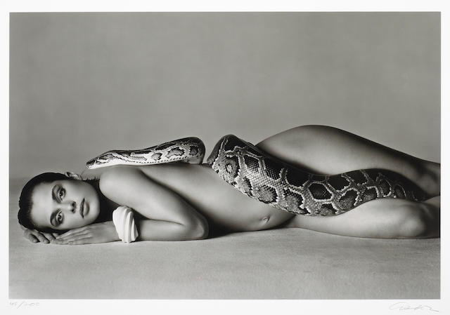 Richard Avedon Nastassja and the Serpent, 1991, gelatin silver print numbered 45/200 and signed. 28 1/4 x 42 3/4in