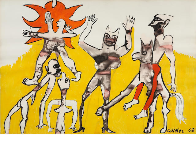 Attributed to Alexander Calder, Figures with yellow background, 1968