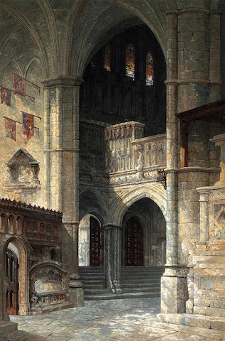 Edwin Deakin (American, 1838-1923) Entrance To Henry VII Chapel, Westminister Abbey, 1898 54 x 36in
