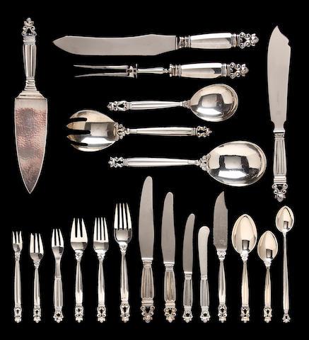 A Danish silver flatware service Gerog Jensen silversmithy, Copenhagen, post 1945, designed by Johan Rohde <br>Acorn pattern