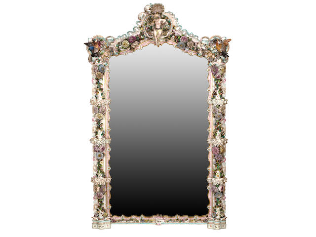 A German porcelain large overmantel mirror Probably Dresden, circa 1900