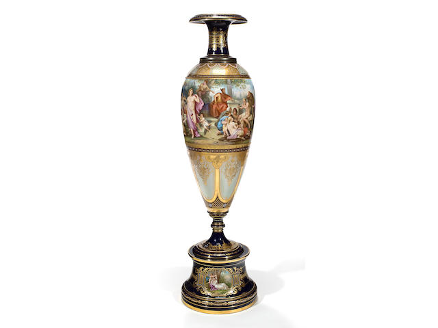 A pair of Royal Vienna style porcelain vases late 19th century