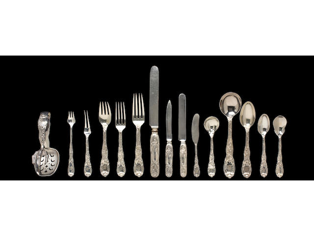 An American silver extensive flatware service,  Manufactured and retailed by Tiffany & Co., New York, New York, early 20th century,  Chrysanthemum pattern