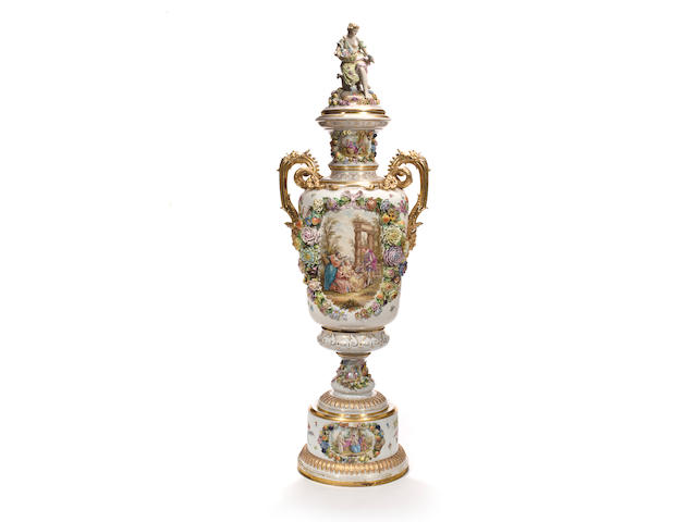 A monumental German porcelain covered two-handled vase Potschappel, Dresden, circa 1900