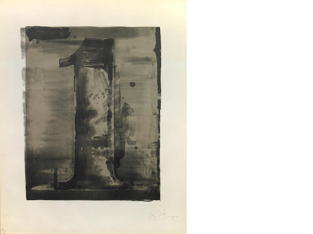 Jasper Johns (American, born 1930); Figure 1, from Black Numeral Series;