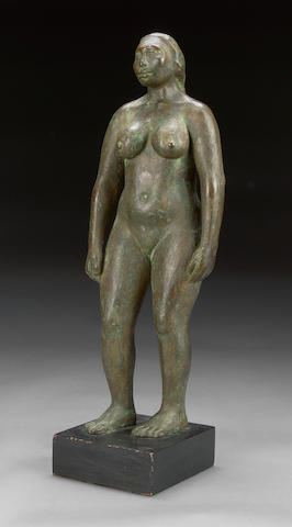 (n/a) G. Cuevas (20th century) Standing female nude, 1966 overall height 18 1/2in