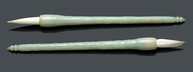 A pair of  carved nephrite-mounted brushes