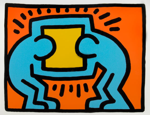 Keith Haring (American, 1958-1990); Untitled, from  Pop Shop Quad VI;