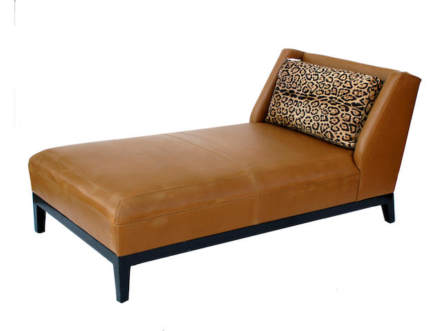 A Contemporary brown leather chaise