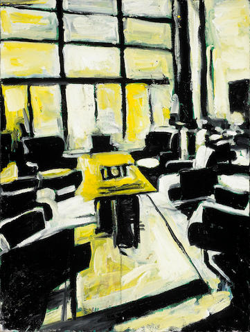 (n/a) Roger Herman (German, born 1947) Boardroom #, 1987 24 x 18in unframed