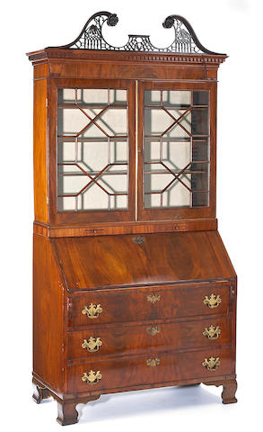 A George III mahogany bureau bookcase<br>fourth quarter 18th century