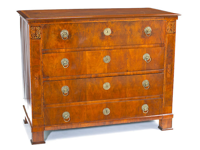An Austrian Biedermeier marquetry and fruitwood chest of drawers