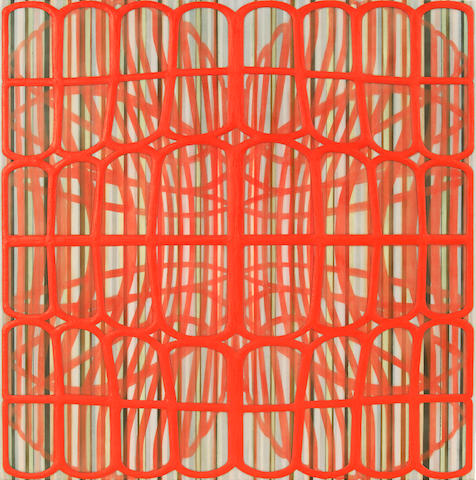 Amy Ellingson (American, born 1964) Identical/Variation (red) #1, 2006; Identical/Variation (red) #4, 2006 (2) each 20 x 20in